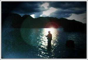 Dad nightfishing in Baja